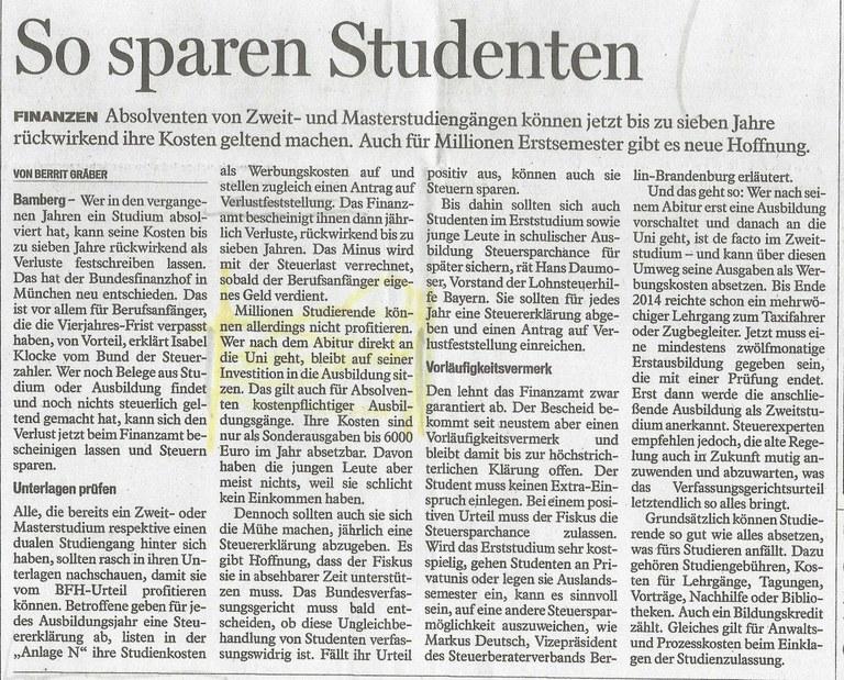 Fränkischer Tag, 11.05.2015 Seite 29